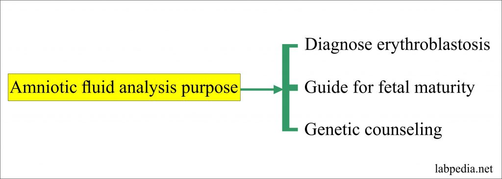 Analysis of the amniotic fluid purpose