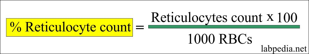 Reticulocytes count in the blood calculation formula