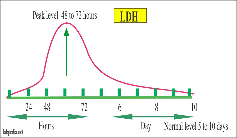 LDH values in case of Myocardial Infarction