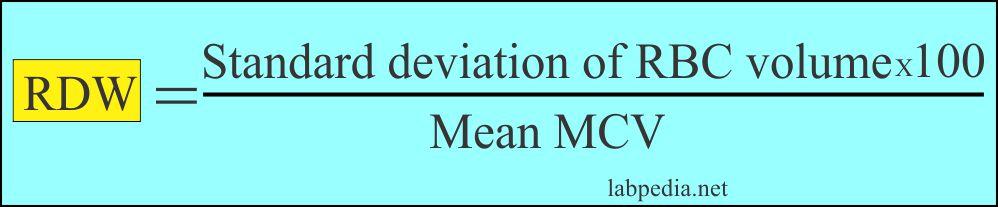 RDW formula and calculation