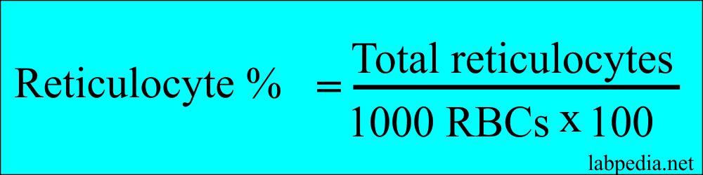 Retics % count formula